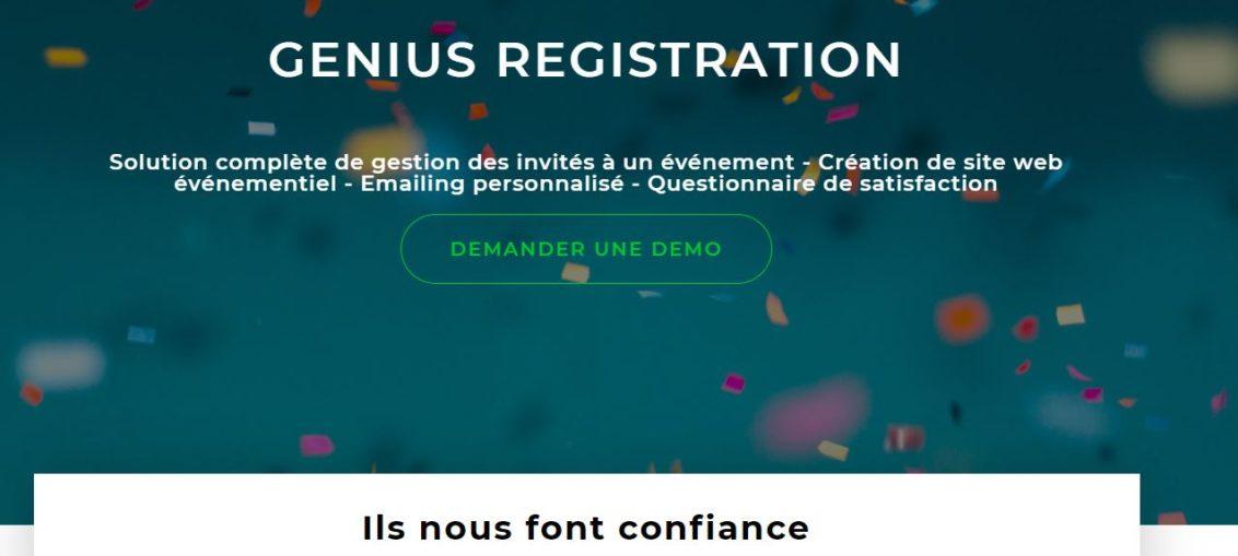 Genius Registration solution gestion des invités à un évènement